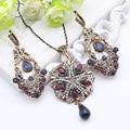 Exuberante Turco Real Sistemas de La Joyería Para Las Mujeres de Oro Antiguo Plateado Pendientes de Gota de Cristal Collar de diamantes de Imitación Bijoux Étnica India