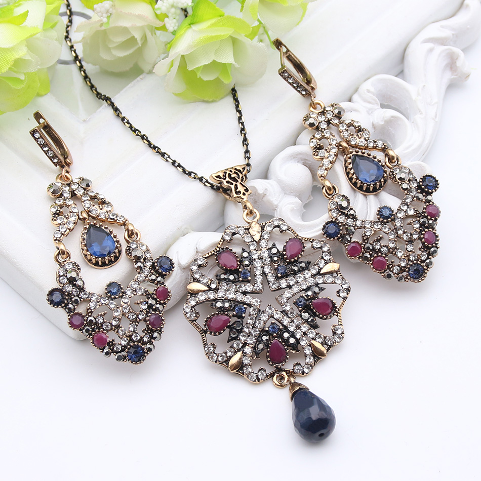 Luxuriant Turkish Royal Jewelry Sets For Women Antique Gold Plated Crystal font b Drop b font