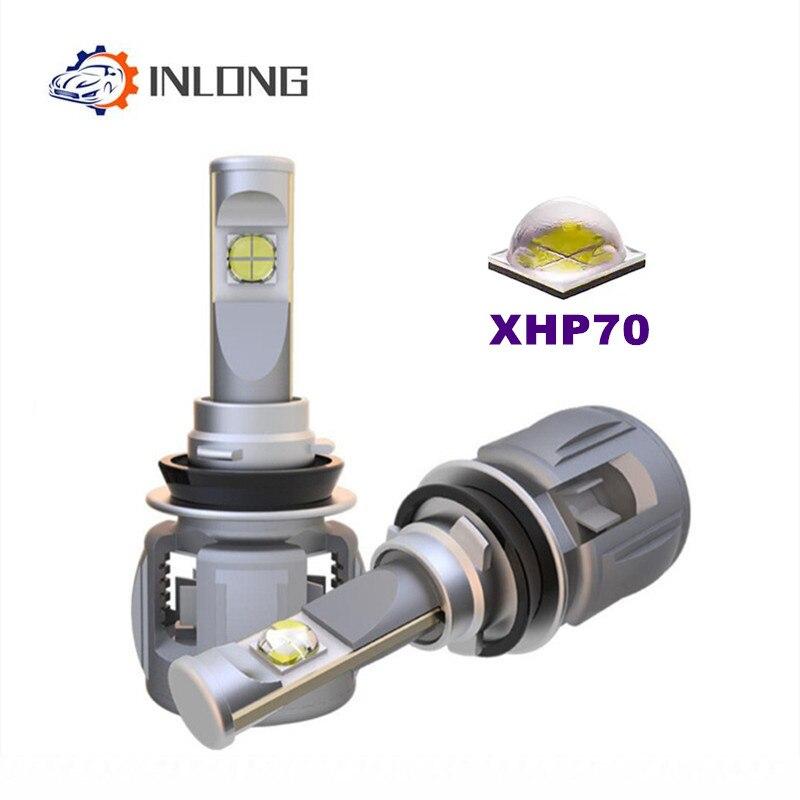INLONG 2PCS H4 H7 LED Headlight Bulb H11 9005 9006 D2S D1S XHP70 Chips 6000K 15600LM