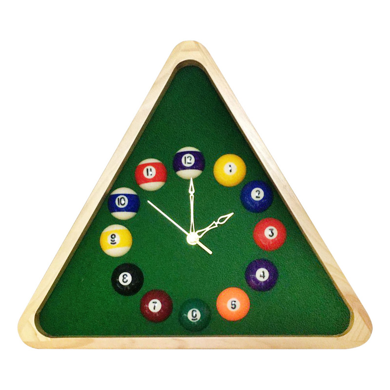 Wooden Billiard Triangle with Pool Ball Clock Products