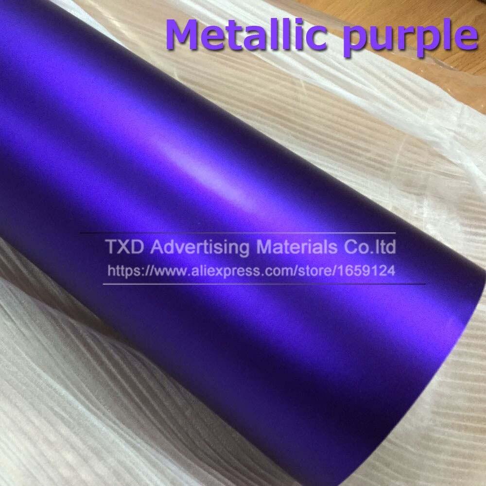 1,52*5 м/10 м/15 м/20 м в рулоне Премиум атласный металлический матовый хром Красный Синий Зеленый Виниловая пленка без пузырей - Название цвета: purple