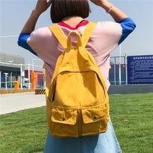 Японский Стиль Harajuku Стиль Мори ulzzang женщины рюкзак корейский стиль случайные холст рюкзак однотонные женские школьный для студентов