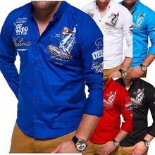 ZOGAA Spring Autumn Casual Mens Shirt Full Sleeve Multi Color Print Letter Fashion Brand Long Slim Fit Men Cotton Shirts