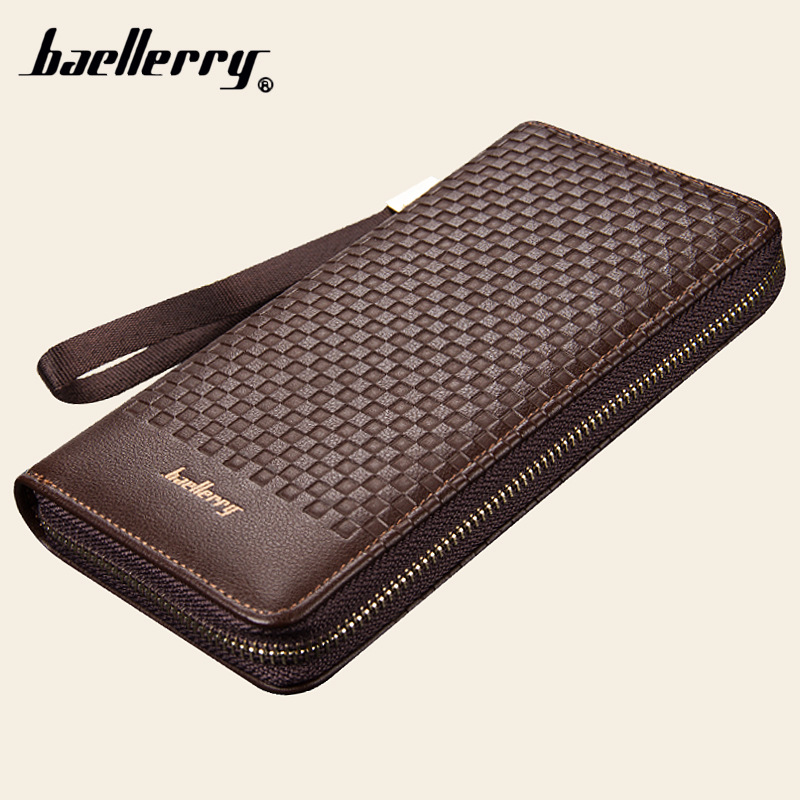 все цены на Baellerry Designer Men High Capacity Long Wallet Card Holder PU Leather Coin Purses Male Clutch Bag Money Zipper Pocket Pochette