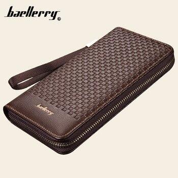 Baellerry Designer hommes haute capacité Long portefeuille porte-carte PU cuir porte-monnaie homme Pochette argent fermeture éclair poche Pochette