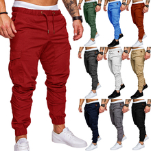 2018 Jogging Pants Mens Running Men Fitness Gym multi-pocket Sport Trousers Football Soccer Training