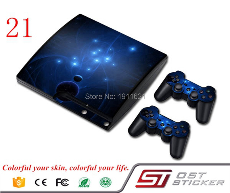 Blue Light Decal Vinyl Protective Skin Sticker For PS3 Slim Sticker For PS3 Accessories