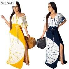2019 Summer Style Tie Dye Printed Maxi Dresses Long Bohemian Ropa Mujer Vestidos De Fiesta Sexy Casual Side Split Beach