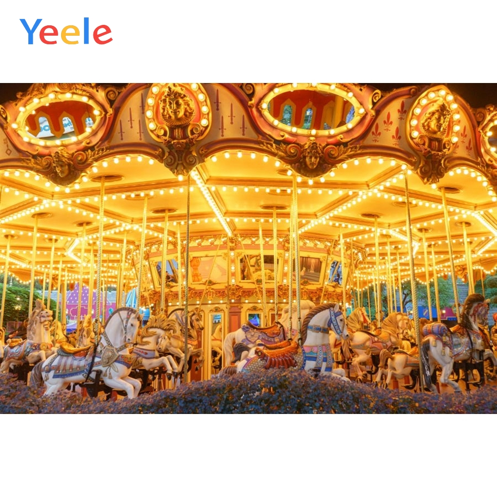 Yeele Glitter Light Photography Backdrops Rocking Carousel Baby Children Portrait Photographic Backgrounds For the Photo Studio