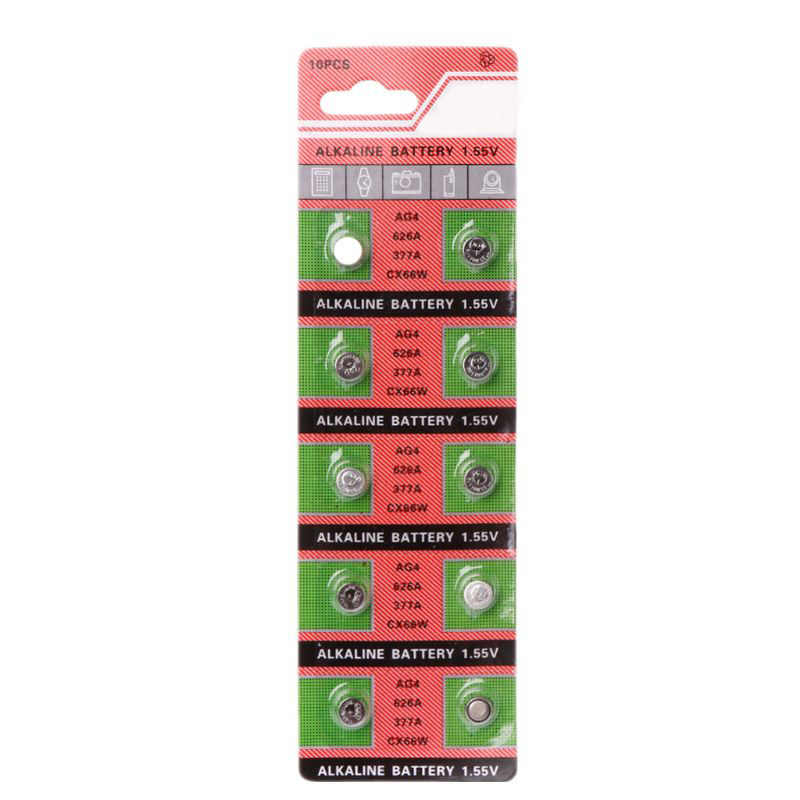 Wholesale 10PCS/lot Watch Coin Battery AG4 377A 377 LR626 SR626SW SR66 LR66 Button Cell Batteries for Toys Remote Camera