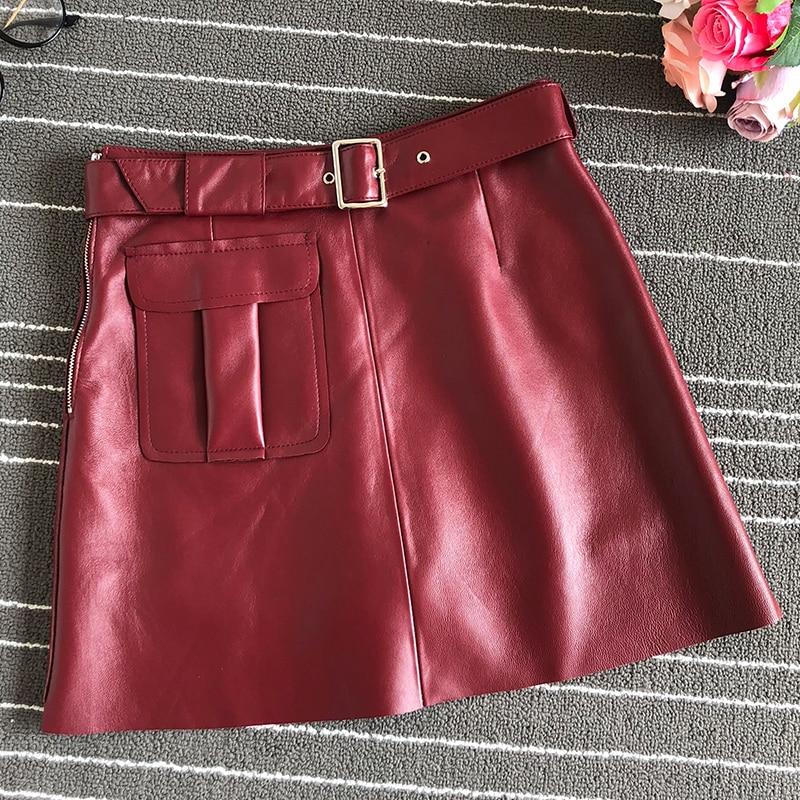Haute qualité femmes cuir a-ligne taille haute jupes 2019 automne/hiver en peau de mouton jupe en cuir A640
