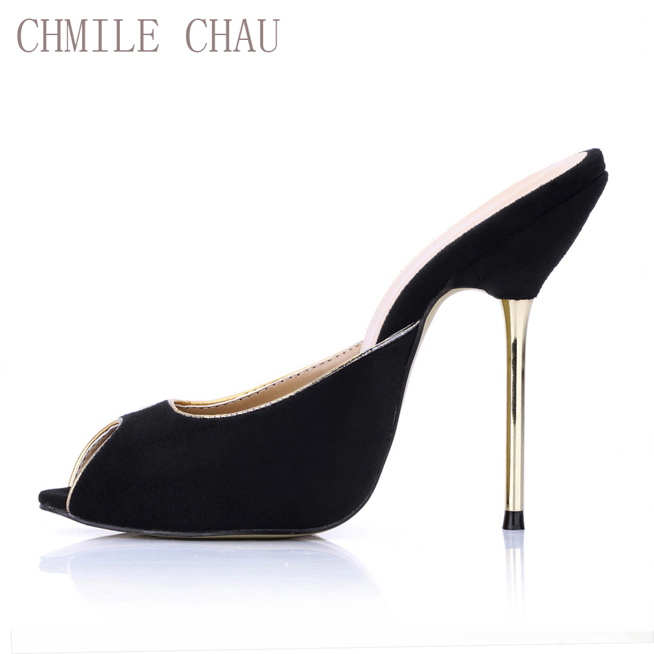 CHMILE CHAU Negro Suede Sexy Dress Party Shoes Mujeres Peep Toe Stiletto tacón alto que data de novia dama sandalias Zapatos Mujer3845-f1