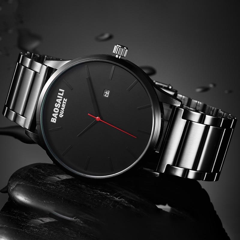 Calendar Display BAOSAILI Brand Quartz Watch Men Simple Watches Business Hour Clock Stainless Steel 3ATM Waterproof Wrist Watch mike davis knight s microsoft business intelligence 24 hour trainer