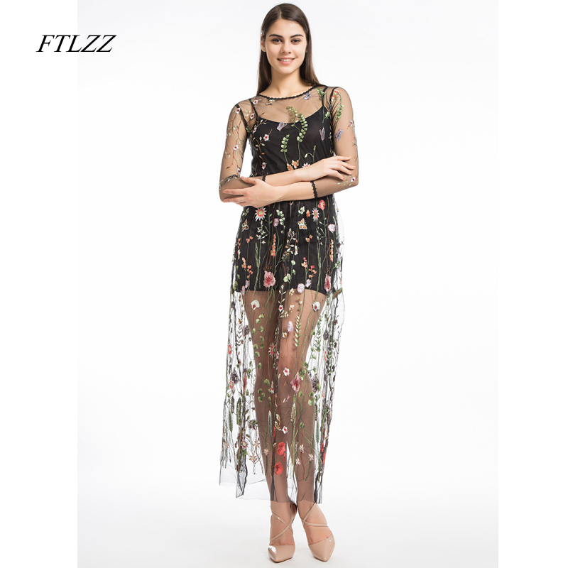 Ftlzz Spring New Women Tulle Gauze Embroidery Floral Print Dress Summer  Vintage Sexy Plus Size Long f95e494681a3