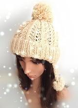 Мода женщины зима теплая уха халява вязаная шапка 100% ручной мягкий вязание Hat Cap лэй фэн крышка