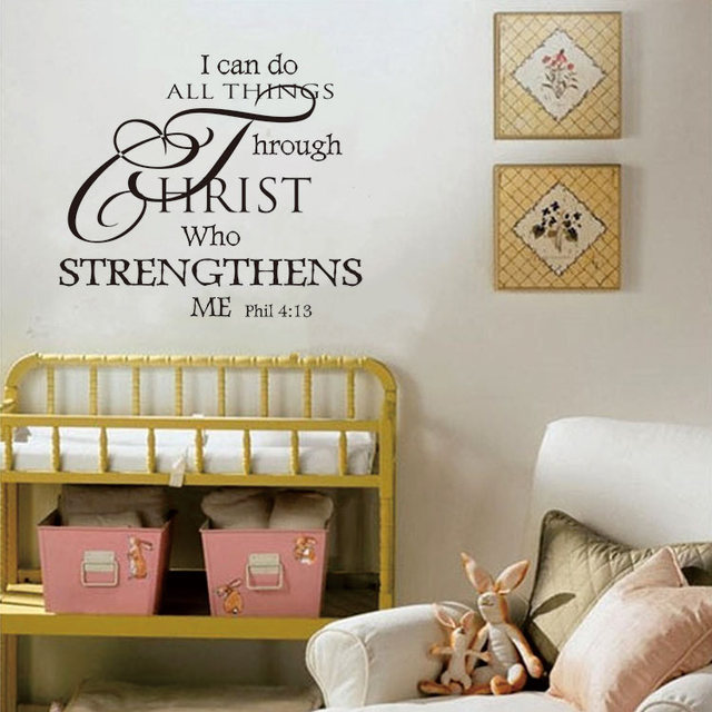 2016 Hot Sale Popular I Can Do All Things Wall Sticker Vinyl Home Decor For Kids