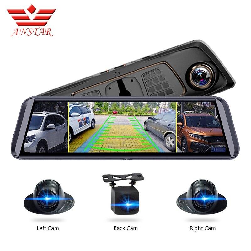 Anstar 10screen adtela adas dvr carro com 4 câmeras 4g fhd1080p mídia espelho retrovisor 360 graus de zona cega espelho gravador traço cam