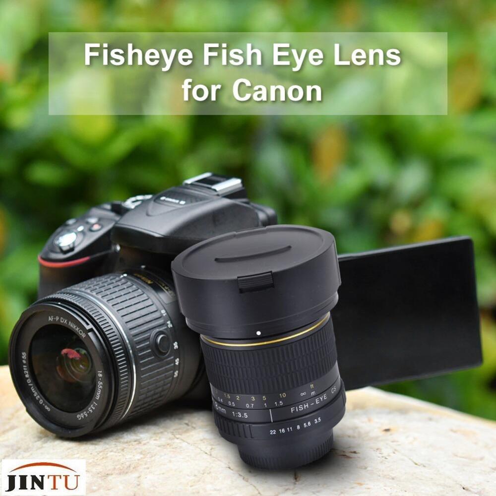 JINTU 8mm f/3.5 Mise au point manuelle Ultra Grand Angle Objectif Fisheye pour Canon Reflex 550D 80D 70D 60D 750D 600D 1200D 760D 750D 1100D