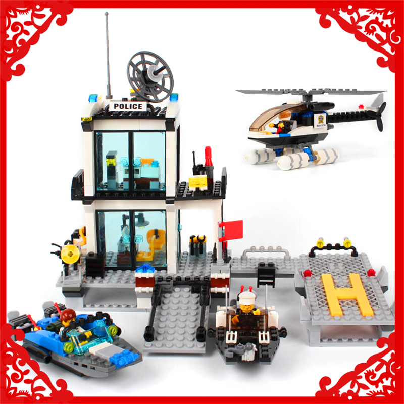 KAZI 6726 Police Station Helicopter Speedboat Building Block 536Pcs DIY Educational  Toys For Children Compatible Legoe gudi 9217 874pcs city fire station helicopter firemen building block diy educational toys for children compatible legoe