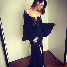 Vestido De Festa Party Formals Long Sleeve Sexy Prom Gown See Through High Leg Slit Black Lace Evening Dress