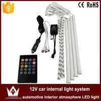 GuangDian Car RGB LED DRL Strip Light 4Pcs 12V 5050Chip Car Auto Remote Control Auto Decorative