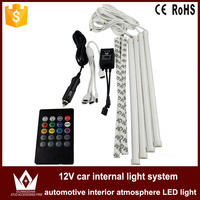 GuangDian Car RGB LED DRL Strip Light 4Pcs 12V 5050Chip Car Auto Remote Control Auto Decorative