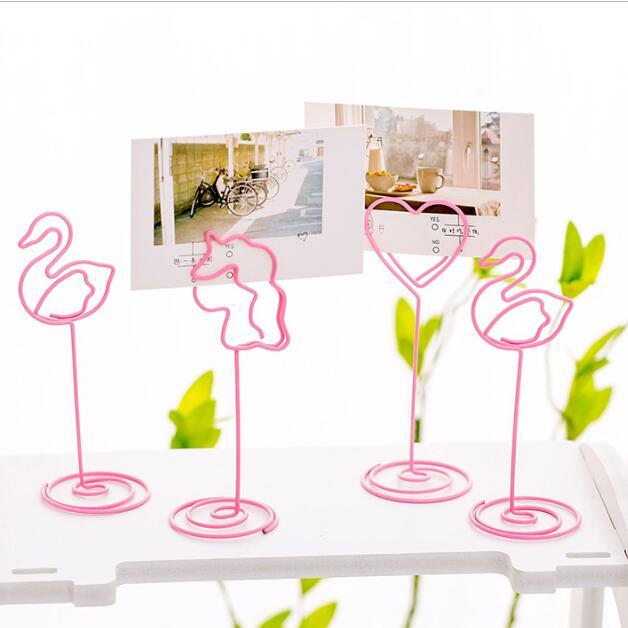 Kawaii Roze Flamingo Eenhoorn Trouwbedankjes Plaats Kaarthouder Tafel Foto Memo Note Bureau Naam Kaart Map Clips Bericht Clip Een Unieke Nationale Stijl Hebben