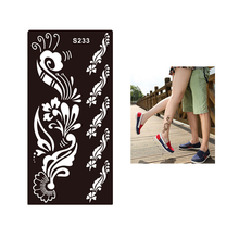 1 Piece Professional Women Flash Body Temporary Flower Airbrush Art Tattoo Henna Stencil Waterproof Tatoo Sticker Decal S233
