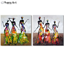 New 2 Pieces Wall Art Abstract Modern Dancing African Women Portrait Oil Painting For Living Room Knife Dancer