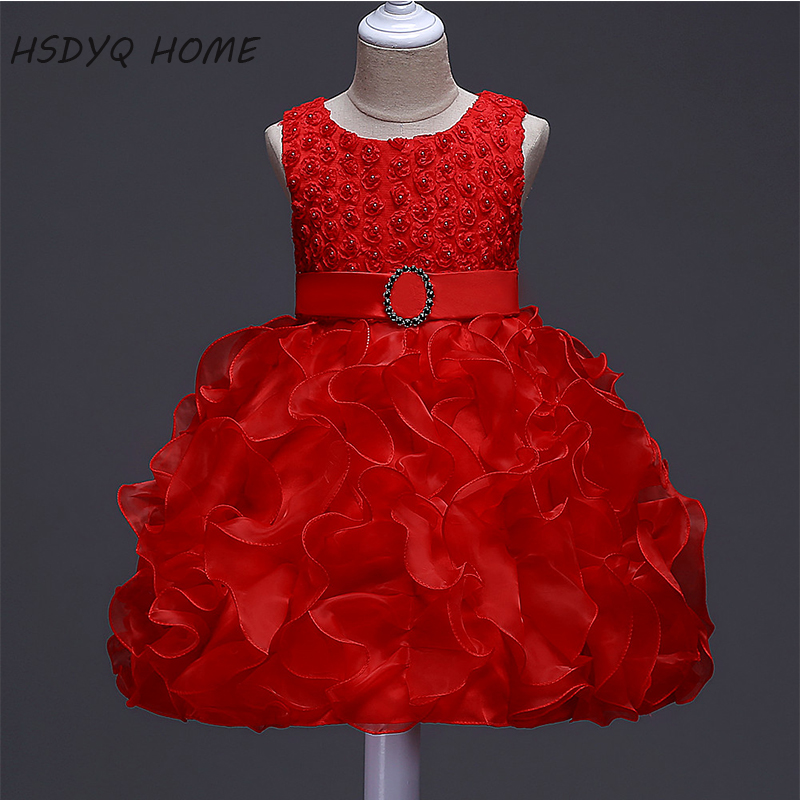 New Design Red   Flower     Girl     Dresses   2017 Beautiful Pleat Children gown real photo cheap Kids   Dress   New Arrival