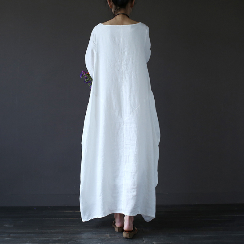 86b2e7791fdc 2018 Women Baggy Maxi Summer Plus Size Dresses Party Shirt Loose Cotton  Linen White Red Long Sleeve Bohemian Dress Robe Vestidos