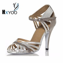 HXYOO Practice Glitter Silver Latin Dance Shoes Woman Salsa Shoes Ladies Ballroom Dance Sadals Girls Leather Peep Thin Heel