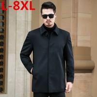 8XL 7XL Большие размеры мужские кашемировые пальто мужчин 100% Шерсть Тренч мужской отложной воротник однобортная шерстяная Верхняя одежда на о