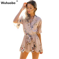 Wuhaobo Boho Red Floral Print Ruffles Playsuits Women 2017 Elegant Summer V Jumpsuits Rompers Sexy Beach