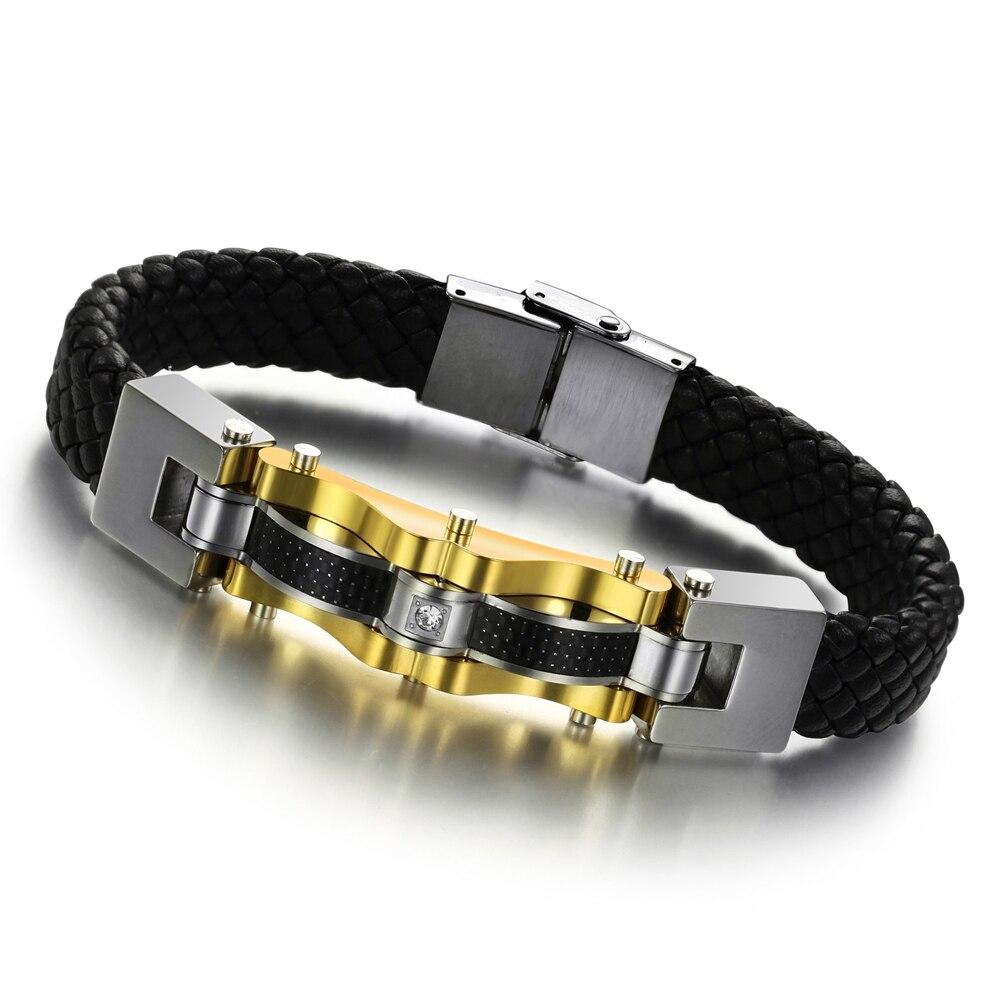 Connu OPK BIJOUX De Luxe Véritable Bracelet En Cuir Bracelet Homme Or  UV82