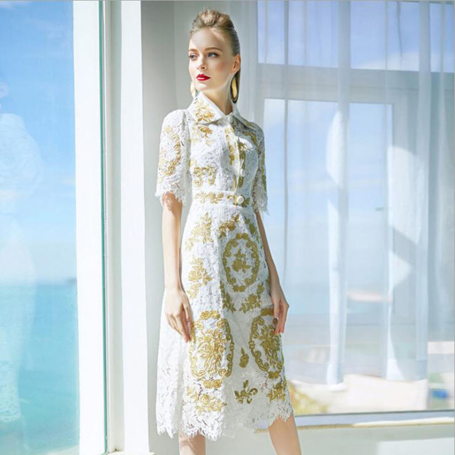 bfed1083e59d1 Vintage Luxury Lace Gold Embroidery Dress 2018 Spring Summer Runway Fashion  Dresses White Slim Hollow Half Sleeve Dress Women