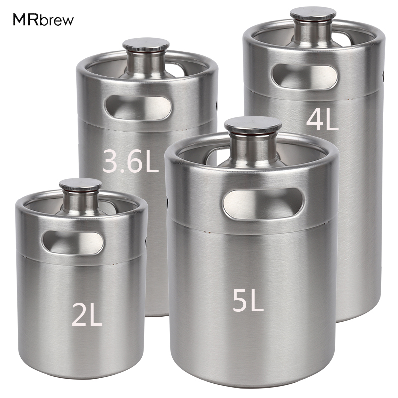 Mini Keg Growler Canteen Craft Beer Homebrewing Stainless Steel 304 Beer Barrel Keg for for Beer, Water, Soda, Wine, Coffee image