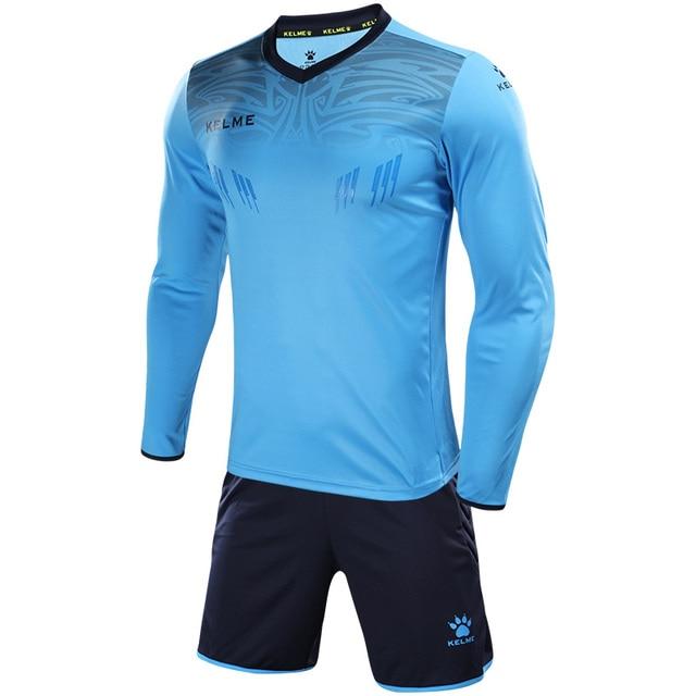 KELME Men's Goalkeeper Jersey Custom Football Uniforms Men Training Suit Sponge Protector Jerseys Soccer Tracksuit Kids 3871007