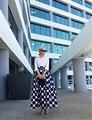 De gama alta de Encargo Negro y Blanco Del A-line Largo Maxi Faldas de Las Mujeres/Otoño Invierno Primavera Falda