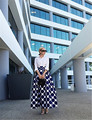 High-end Custom Black & White Dot A-line Maxi Long Women Skirts / Autumn Winter Spring Skirt