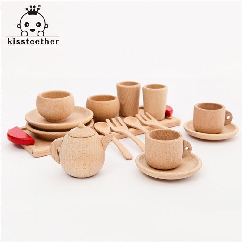 Bois hêtre bébé couverts tasse plateau bébé cadeau ensemble Portable en bois Montessori jouet inspiré bambin semblant jouer cuisine perles