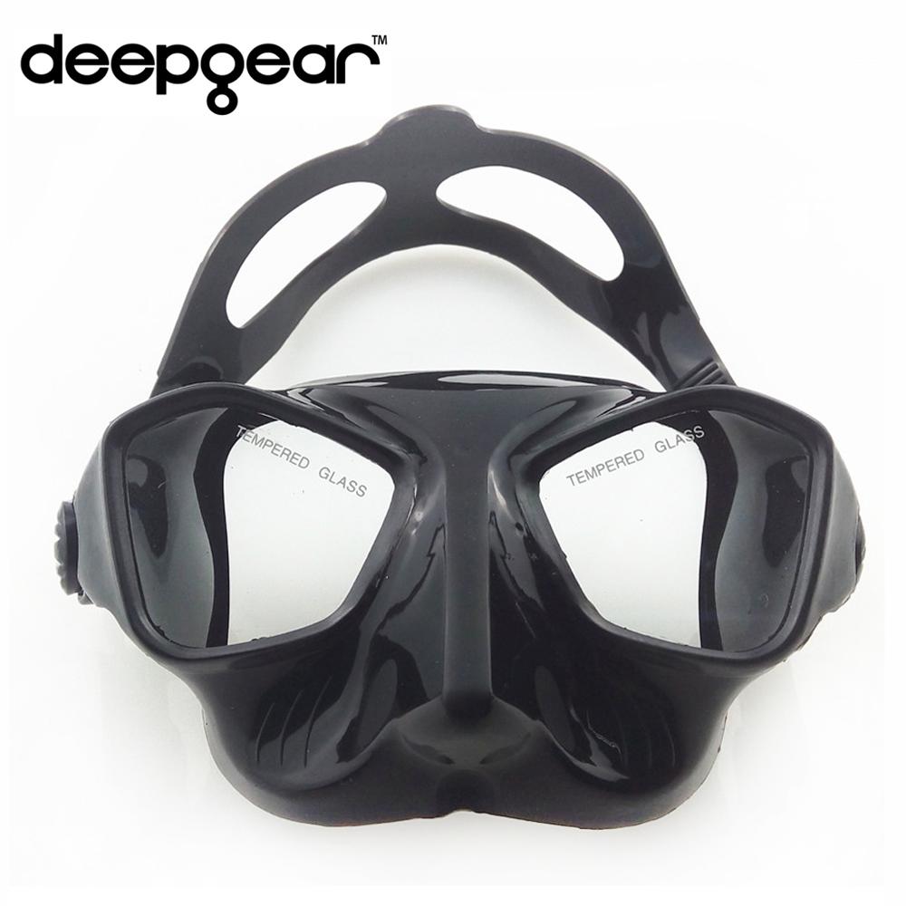 Prix pour DEEPGEAR faible volume trempé lentille chasse sous-marine et plongée en apnée masque de silicone masque de plongée top chasse sous-marine plongée gear engrenages