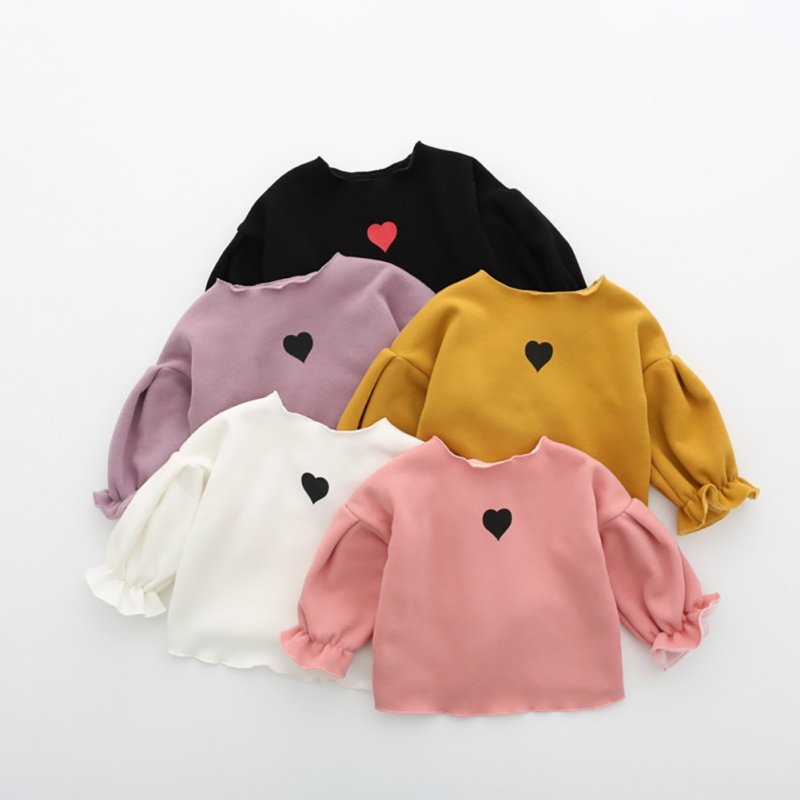 Winter Baby Girl Cotton Puff Sleeve Long Sleeve O-neck Heart Thick T Shirt Girl Love Printed Shirts Velvet Children Clothes puff sleeve round neck top