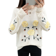 秋の新刺繍 2019 O ネックセーター女性長袖ニットセーター女性春カジュアル花厚手プルオーバーレディース