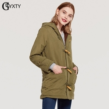 Winter Gbyxty Warm Long Coat And 2018 Lamb Size Women Hooded 3xl Button Plus Horn Jacker ggw7ZrqR