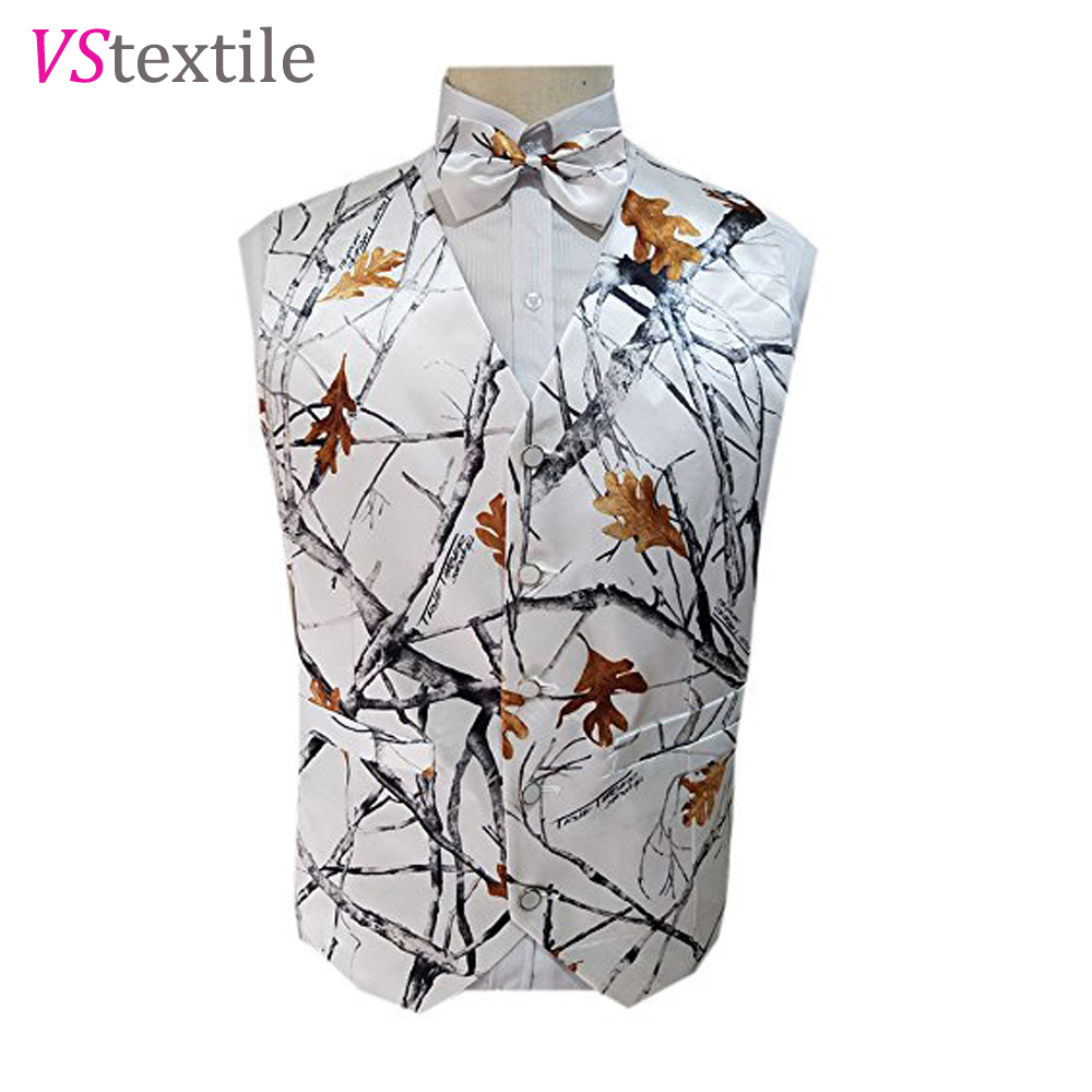 Man White Camo Vests For Wedding Groom Wear Camouflage Tuxedo Vests Custom Make Free Shipping