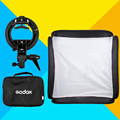 "Godox Flash Softbox Kit 40 x 40cm 15"" * 15"", 60 x 60cm 24"" * 24"", 80 x 80cm 31"" * 31"" + S type Studio Bracket Bowen Mount Holder"
