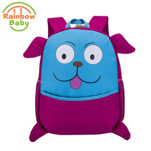 Rainbow Baby Funny Dog Kids & Babys Bags Anti Lost School Bags for 2-8 Years Boys and Girls Bagpack Waterproof Backpack Red