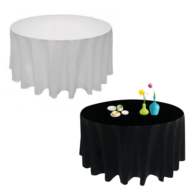 1Pcs 90/230cm Round Satin Tablecloth Table Cover Table Cloth Oilproof Wedding Party Restaurant Banquet Home Black White
