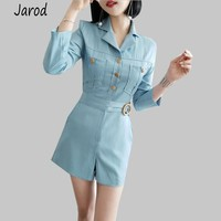 Casual Summer Solid Blue Playsuit for Women Rompers Notched Sashes Playsuits Fashion Work Business Short Jumpsuit 2019